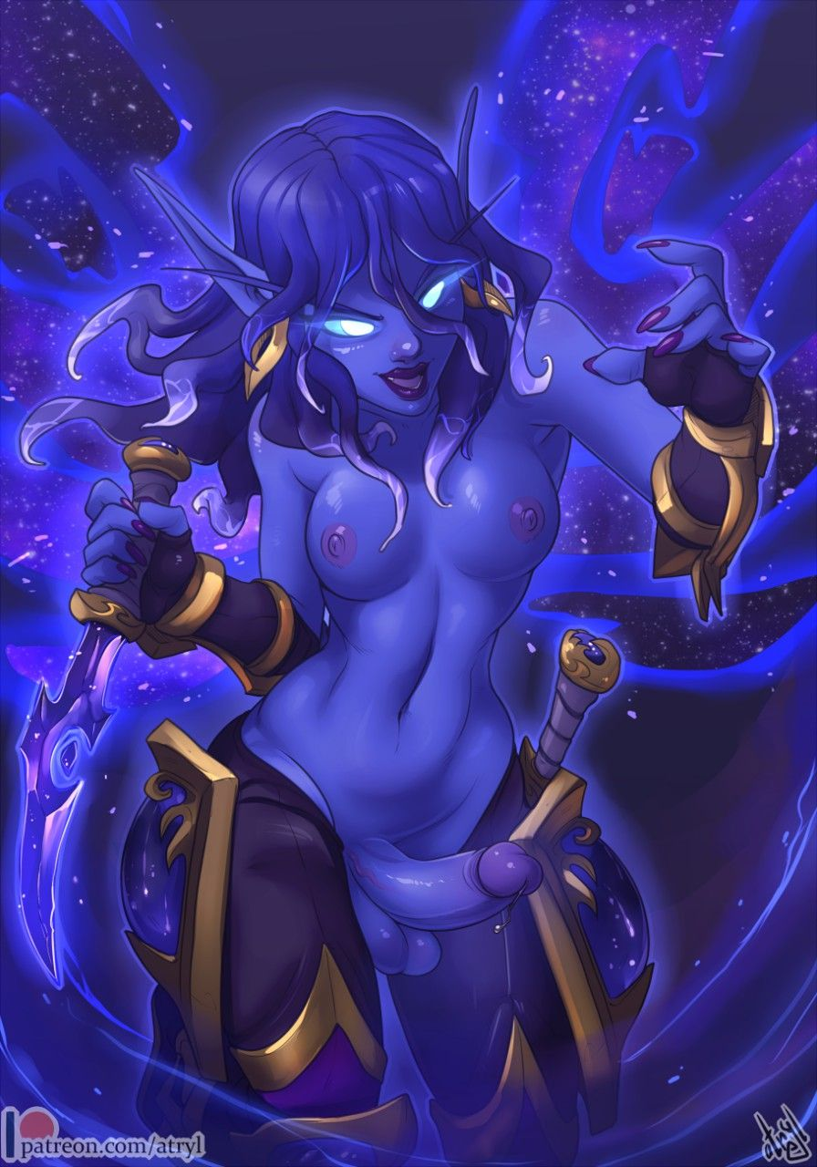 Paying a sexy Void Elf to strip in World of Warcraft.