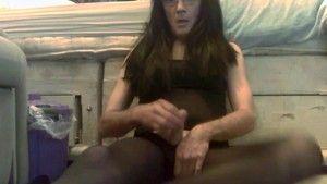 Pantyhose shaved masturbate penis load cumm on face