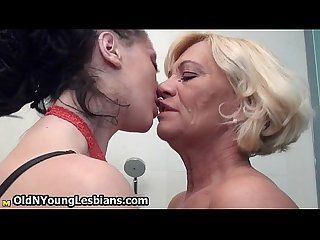Young lesbian teaches mature woman