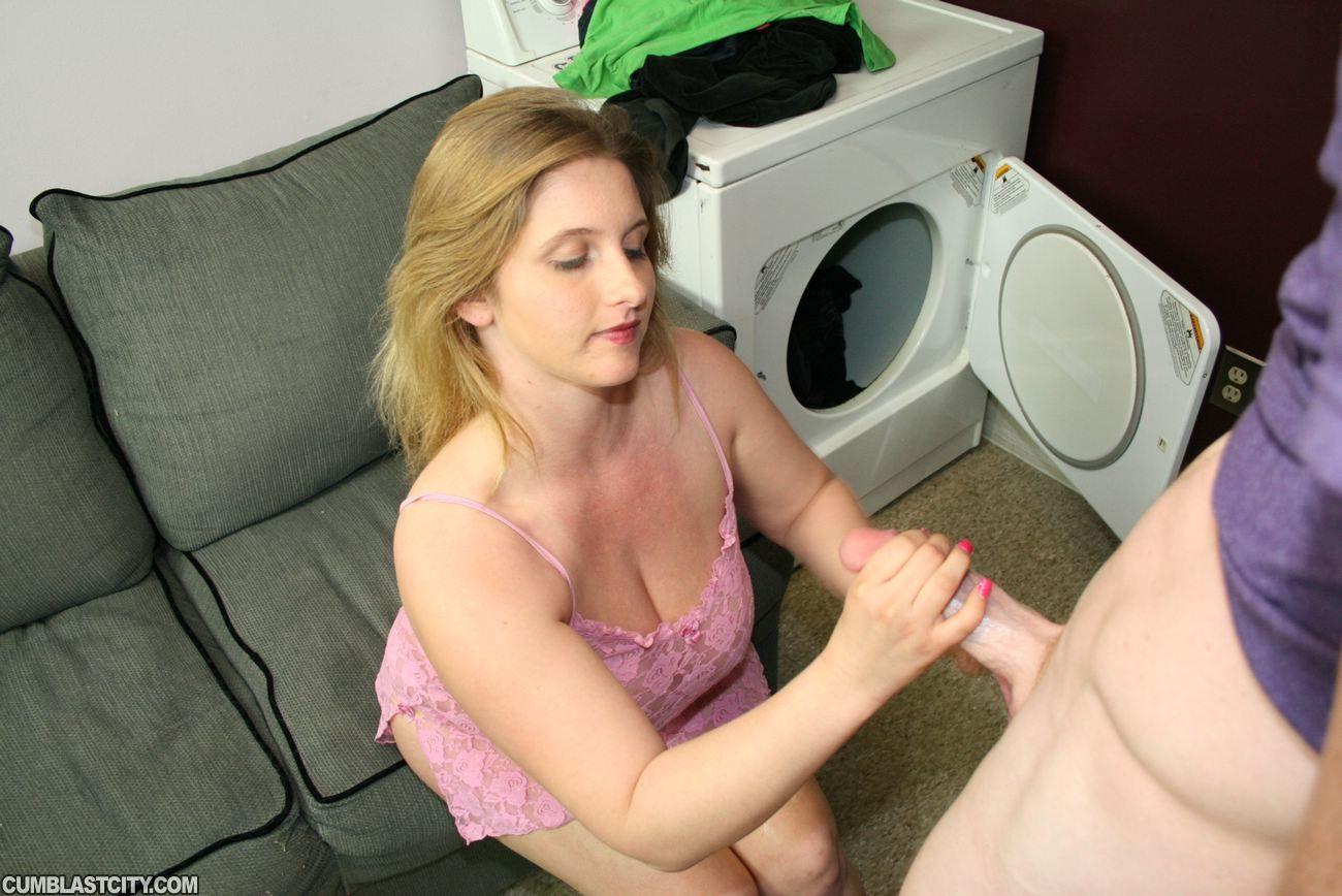 Small tits woman handjob cock and facial
