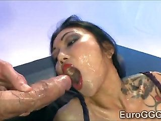 Horsehide reccomend tattooed asian suck penis and facial