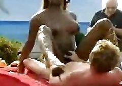 best of Penis beach on whore shemale lick