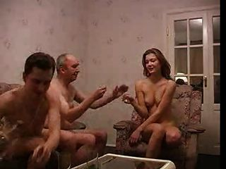 Latina Teen Cockslut Fucks Three Elderly Grandpas.