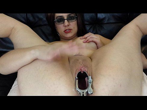 Creampie into held open pussy
