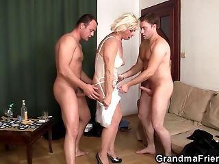 Grandma threesome porn