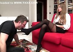 Pantyhose twerking blowjob cock and interracial