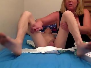 Sexy huge boobed shemale bdsm while wearing diapers